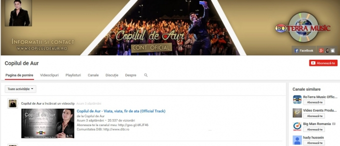 Sorinel Copilul de Aur has now an official youtube account!